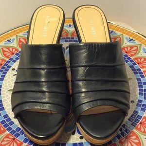 Nine West- black leather, cork wedges.